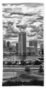 Baltimore Inner Harbor Dramatic Clouds Panorama In Black And White Beach Towel