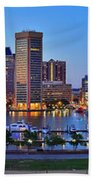 Baltimore Skyline Inner Harbor Panorama At Dusk Beach Towel