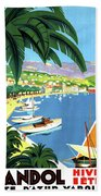 Bandol, French Riviera, Boats On Port Beach Towel