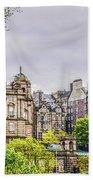Bank Of Scotland And Skyline Edinburgh Beach Towel