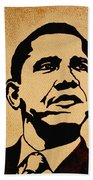 Barack Obama Original Coffee Painting Beach Towel by Georgeta  Blanaru