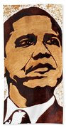 Barack Obama Words Of Wisdom Coffee Painting Beach Towel by Georgeta  Blanaru