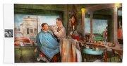 Barber - Getting A Trim 1942 - Side By Side Beach Towel