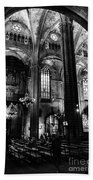 Barcelona Cathedral Interior Bw Beach Towel