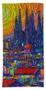 Barcelona Colorful Sunset Over Sagrada Familia Abstract City Knife Oil Painting Ana Maria Edulescu Beach Towel