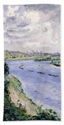 Barges On The Seine Beach Towel
