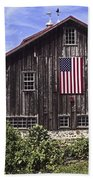 Barn And American Flag Beach Towel
