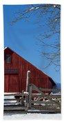 Barn And Blue Sky Beach Towel