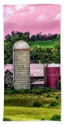 Barn And Silo With Infrared Touch Of Pink Effect Beach Towel