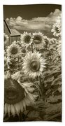 Barn And Sunflowers In Sepia Tone Beach Towel