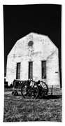 Barn And Tractor In Black And White Beach Towel
