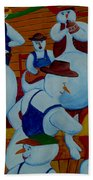 Barn Dancing Snowmen Beach Towel