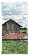 Barn Landscape Colored Pencil Chicken Scratch Effect Beach Towel