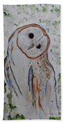 Barn Own Impressionistic Painting Beach Towel