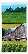 Barn Silo And Crops In Nys Expressionistic Effect Beach Towel
