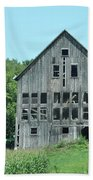 Barn With Chickens In Window Beach Towel