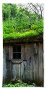 Barn With Green Roof Beach Towel