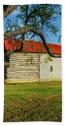 Barn With Red Metal Roof Beach Towel