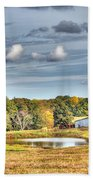 Barns And Pond On A Fall Day Beach Towel