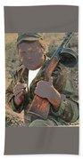 Barry Sadler With Machine Gun On His Shoulder Tucson Arizona 1971-2015 Beach Towel