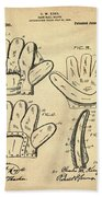Baseball Glove Patent 1910 Sepia Beach Towel