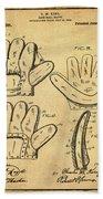 Baseball Glove Patent 1910 Sepia With Border Beach Towel