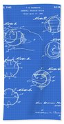 Baseball Training Device Patent 1961 Blueprint Beach Towel