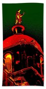 Basilica Of The Little Flower, Dome With Green Sky Beach Towel