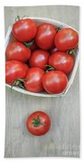 Basket Of Fresh Red Tomatoes Beach Towel