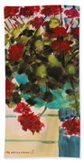 Basket Of Geraniums Beach Towel