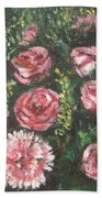 Basket Of Pink Flowers Beach Towel