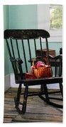 Basket Of Yarn On Rocking Chair Beach Towel by Susan Savad