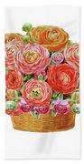 Basket With Ranunculus Flowers Watercolor Beach Towel
