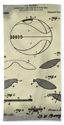 Basketball Patent 1916 Faded Grunge Beach Towel