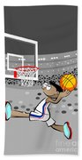 Basketball Player Jumping And Flying To Shoot The Ball In The Hoop Beach Towel