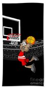 Basketball Player Jumping In The Stadium And Flying To Shoot The Ball In The Hoop Beach Towel