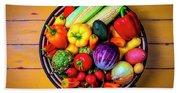 Basketful Of Fresh Vegetables Beach Sheet
