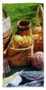 Baskets Of Yarn At Flea Market Beach Towel