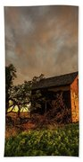 Basking In The Glow - Old Barn At Sunset In Oklahoma Panhandle Beach Towel
