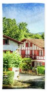 Basque Houses In Ainhoa 2- Vintage Version Beach Towel