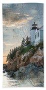 Bass Harbor Lighthouse On Maine Nautical Chart Beach Towel