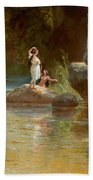 Bathers At The River. Evening In Orinoco? Beach Towel