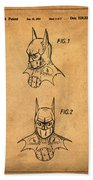 Batman Cowl Patent In Sepia Beach Towel