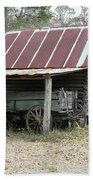 Battered Barn And Weathered Wagon Beach Towel