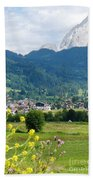 Bavarian Alps With Village And Flowers Beach Sheet
