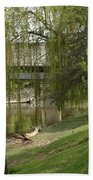 Bavarian Covered Bridge Over The Cass River Frankenmuthmichigan Beach Towel