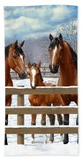 Bay Appaloosa Horses In Snow Beach Sheet by Crista Forest