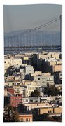 Bay Bridge With Houses And Hills Beach Towel