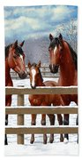 Bay Quarter Horses In Snow Beach Towel