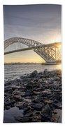 Bayonne Bridge Sunset Beach Towel
